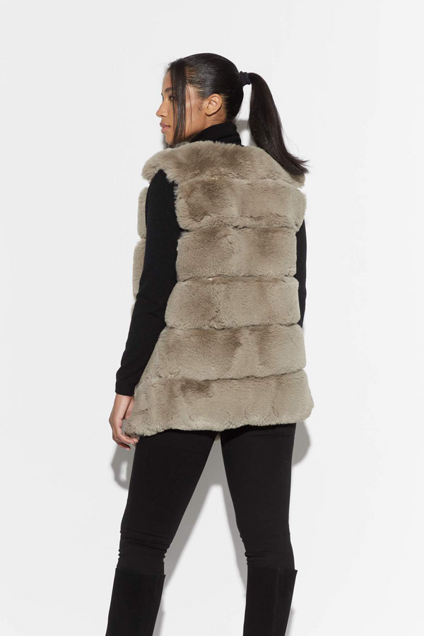 Maya Faux Fur Vest in Taupe