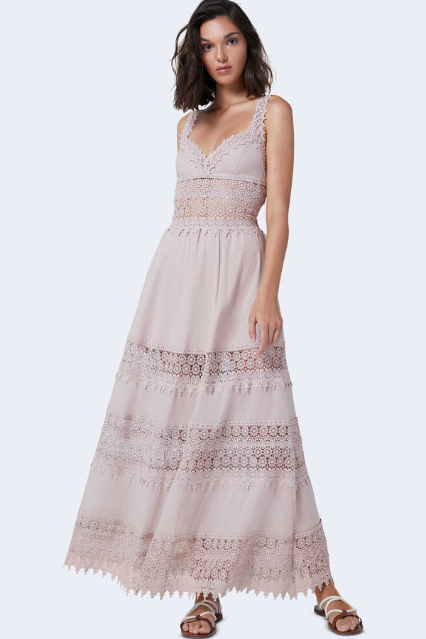 Sophia Sleeveless Long Dress in Nude