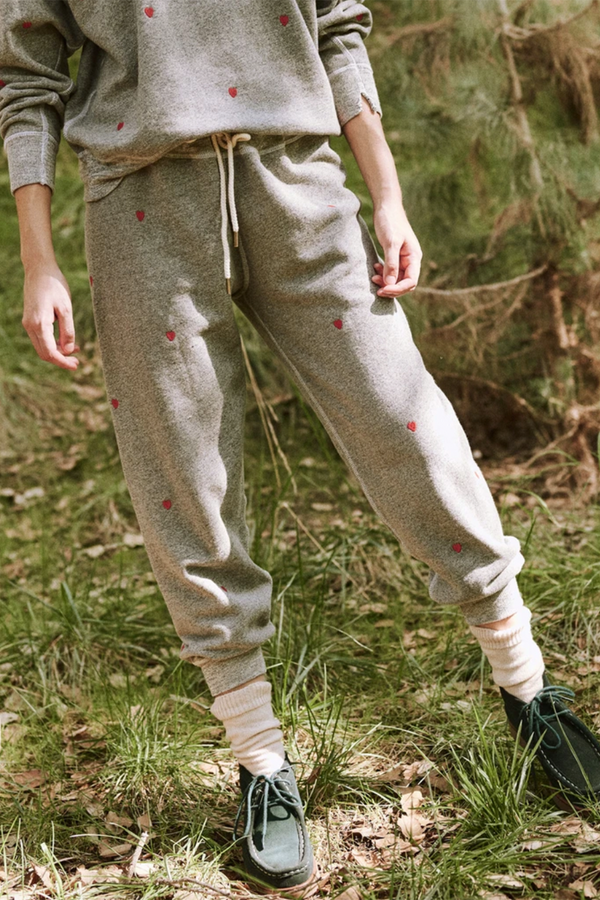 The Cropped Sweatpant with Heart Embroidery in Varsity Grey