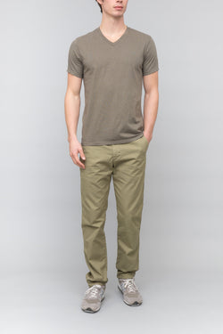 Short Sleeve Heather V-Neck Tee in Olive