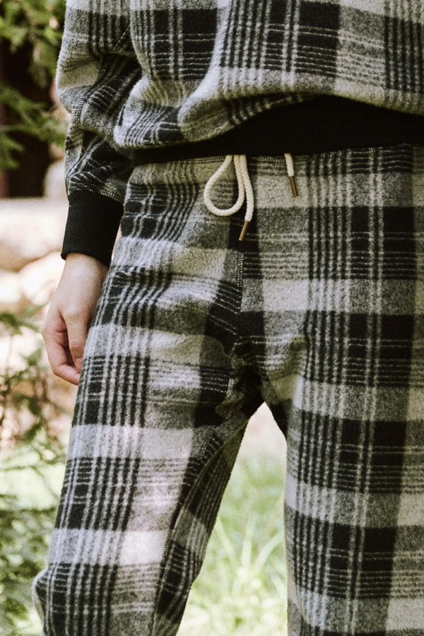 The Warm Up Sweatpant in Black Lumber Plaid