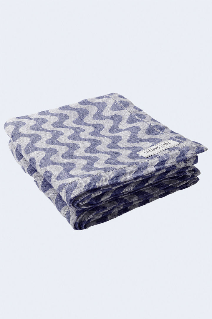 Linen Copacabana Towel in Navy Blue