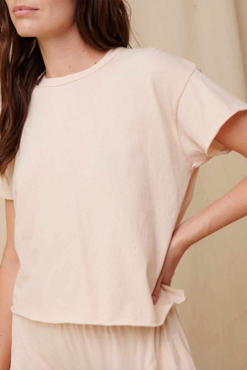 The Crop Tee in Whisper Pink
