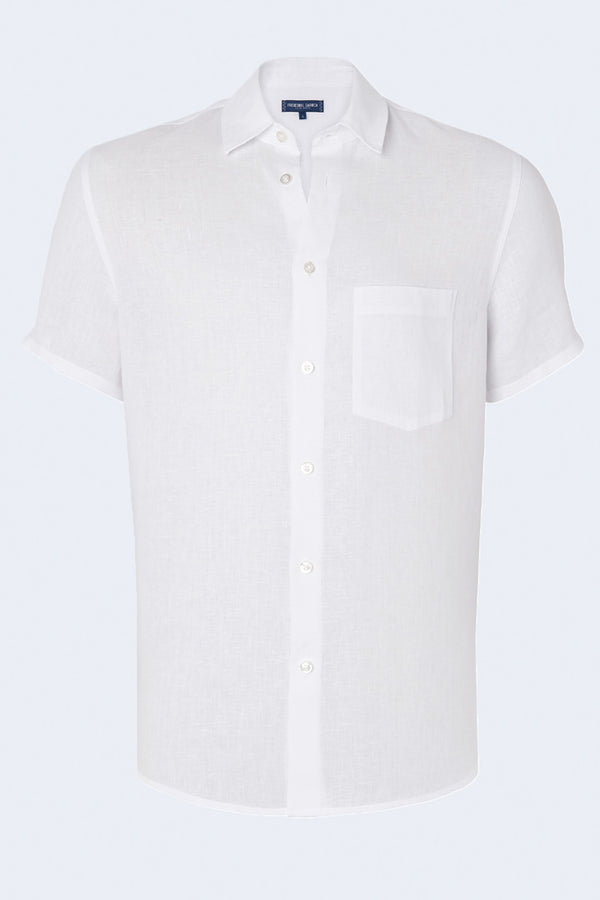 Linen Shirt Regular Short Sleeve in White