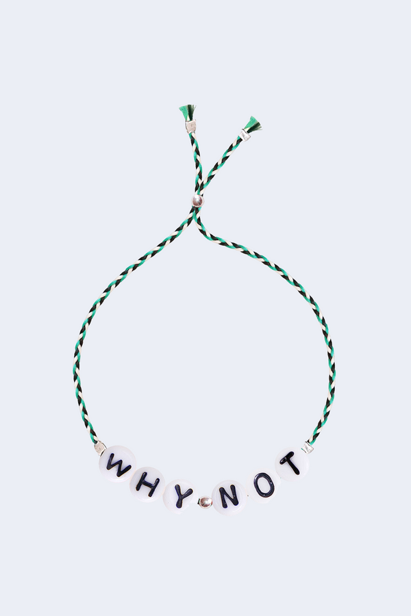 Why Not Glass Letter Bracelet in Green