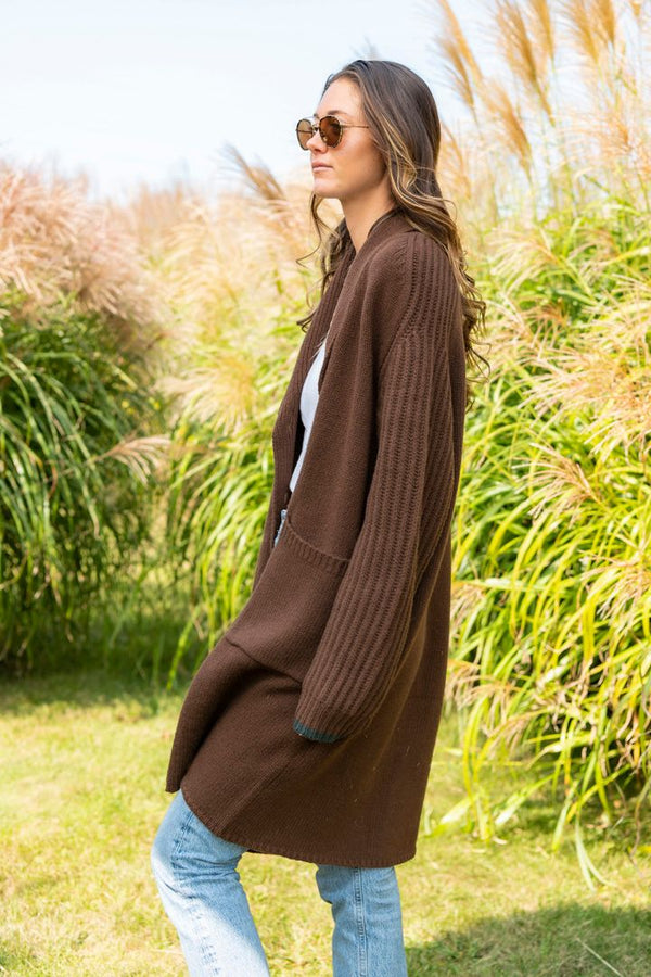 Windward Sweater Cashmere and Wool Coat in Wood