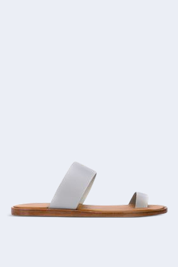 Women's Minimalist Leather Sandal in Blue Grey