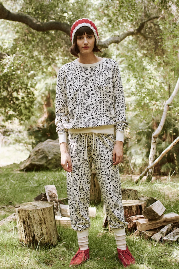 The Cropped Sweatpant in Washed White Folk Print