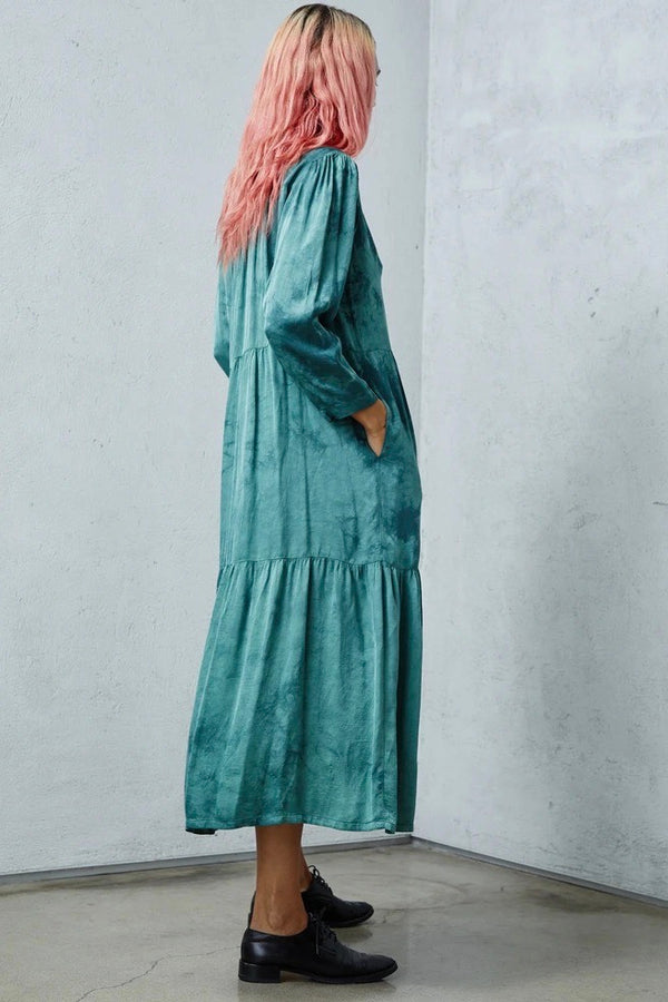 Twila Matte Satin Tie Dye Button Down Dress in Teal