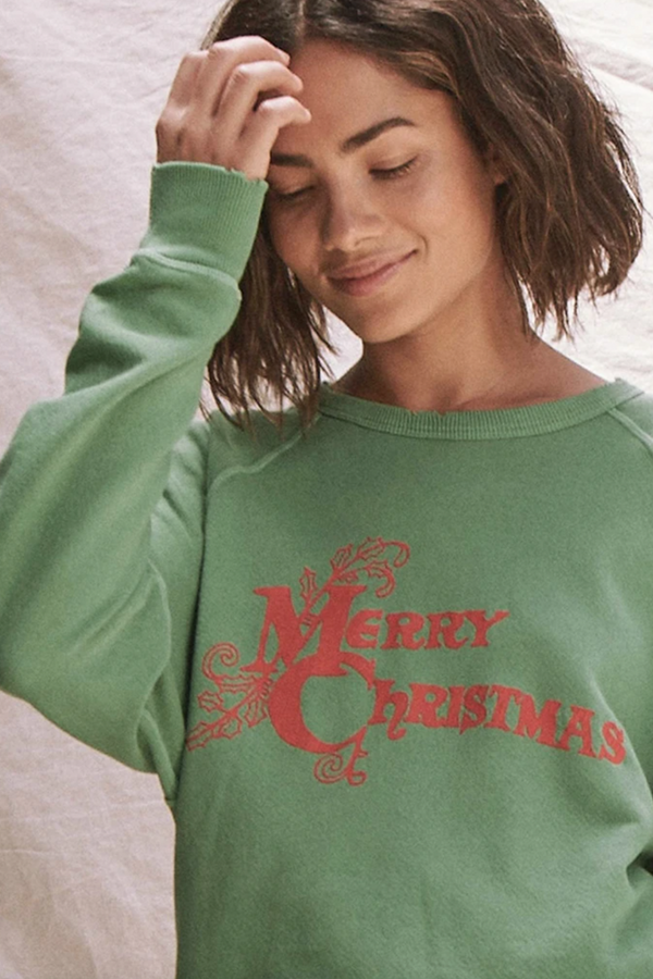The College Sweatshirt with Christmas Graphic in Winter Green