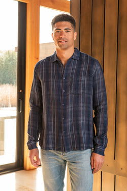 Curtis Doublecloth Cotton Shirt in Navy Stripe