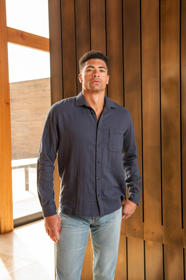 Curtis Organic Gauze Cotton Shirt in Navy