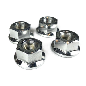 "Flanged axle nut 3/8"" X 26T Set of 4 Chrome Plated BMX - Radius Bike"