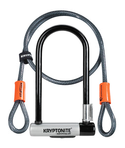 "Kryptonite KryptoLok U-Lock - 4 x 9"", Keyed, Black, Includes 4' cable and bracket"