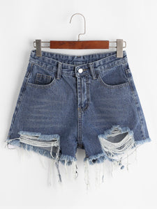 Frayed Raw Hem Denim Shorts - Bohemian Moon Boutique