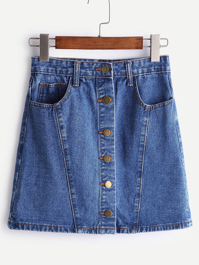 A-Line Single Breasted Denim Skirt - Bohemian Moon Boutique