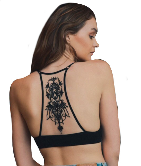 Black Boho Chic Medallion Racerback Bralette - Bohemian Moon Boutique