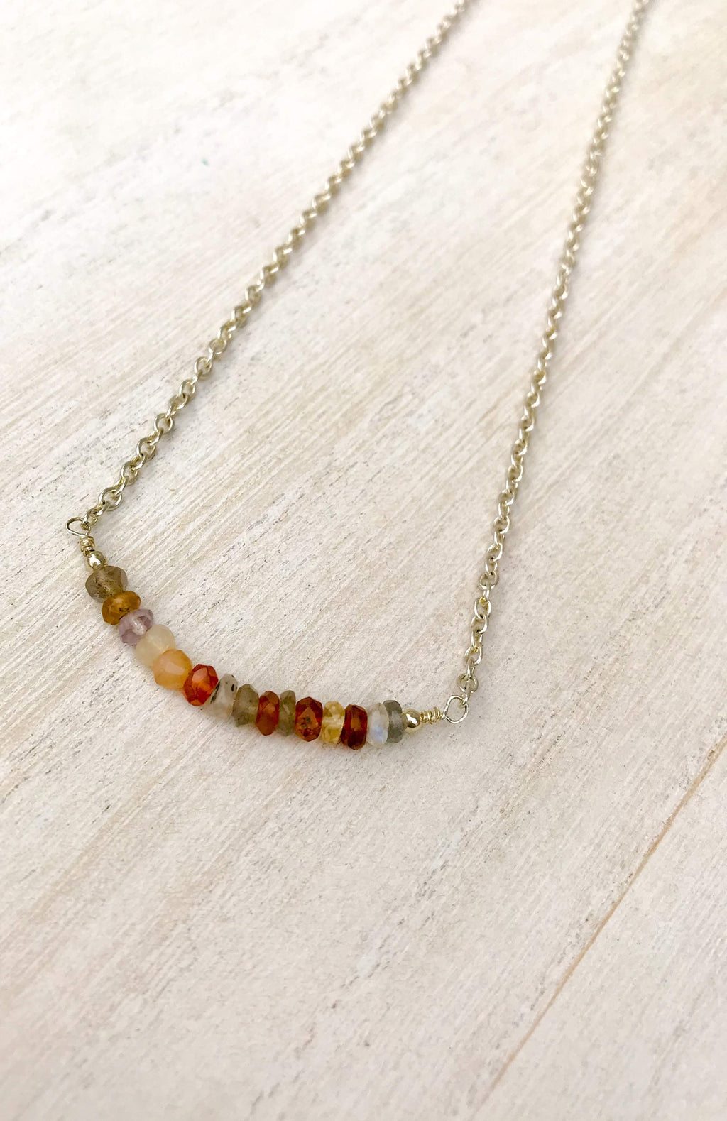 Simple Assorted Gemstone Bar Necklace