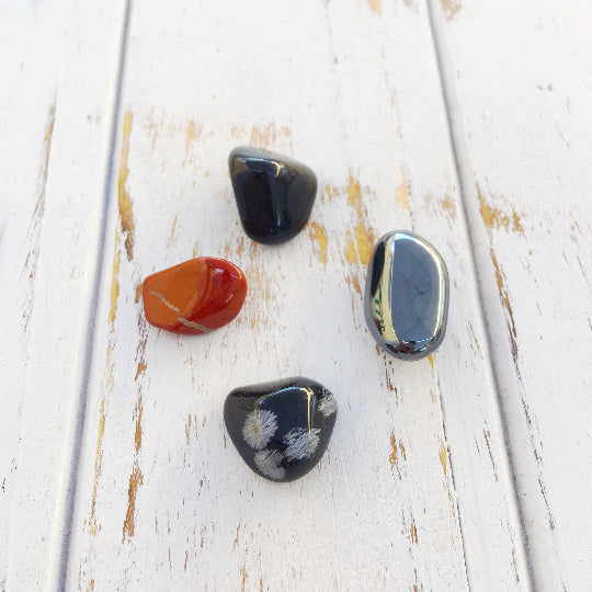 Root Chakra Set * Black Onyx, Red Jasper, Hematite - Bohemian Moon Boutique
