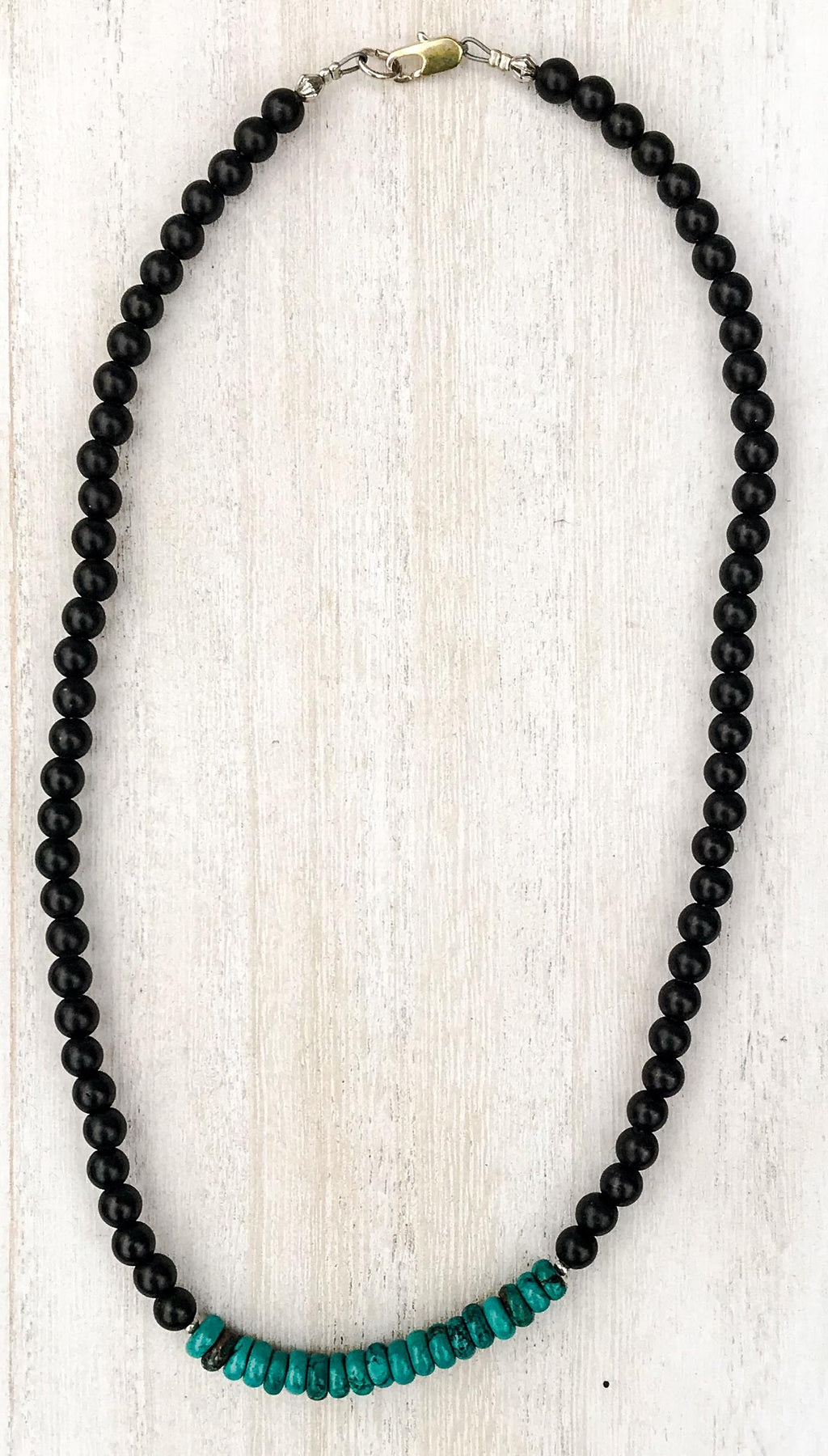 For Him Simple Onyx & Turquoise Necklace