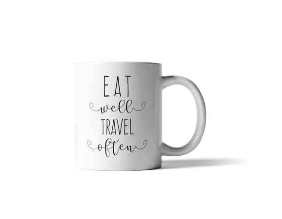 Eat Well Travel Often Mug - 11 Ounce - Bohemian Moon Boutique