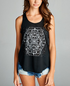 Celestial Zodiac Black Yoga Top - Bohemian Moon Boutique