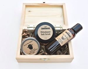 Men's Grooming Gift Set in Wood Box with Beard Oil - Bohemian Moon Boutique