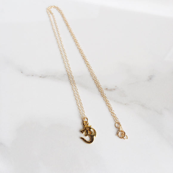Om Stamp 14k Gold Filled Charm Necklace, Dainty - Bohemian Moon Boutique