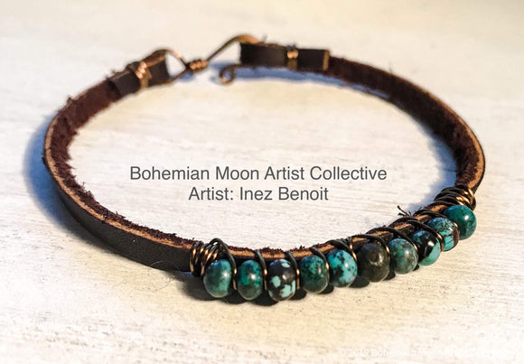 Turquoise Wrap Leather Bracelet - Bohemian Moon Boutique