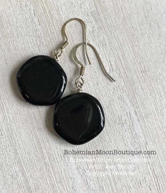 Handmade Artisan Onyx Earrings - Bohemian Moon Boutique