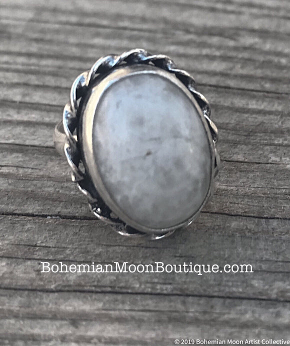 Handmade Sterling Silver Moonstone Ring - Bohemian Moon Boutique