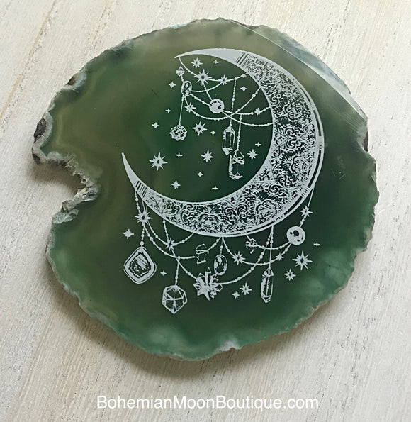 Handmade Laser Etched Bohemian Moon Agate Geode Home Decor - Bohemian Moon Boutique
