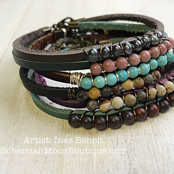 Boho Leather Bracelet Stack - Bohemian Moon Boutique