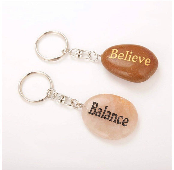Gemstone Encouragement Keychains - Bohemian Moon Boutique