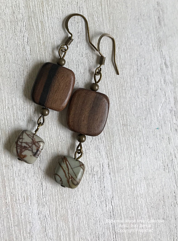 Handmade Artisan Wood & Jasper Earrings - Bohemian Moon Boutique