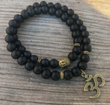 Double Wrap Gemstone Yoga Bracelet Ohm Onyx - Bohemian Moon Boutique