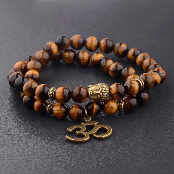 Double Wrap Gemstone Yoga Bracelet Ohm Tiger's Eye - Bohemian Moon Boutique