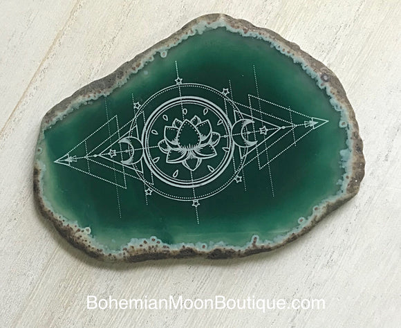 Handmade Laser Etched Agate Geode Home Decor - Bohemian Moon Boutique