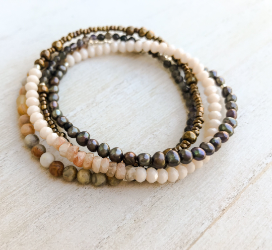 Make Me Blush Gemstone Wrap Bracelet - Artist Inez Benoit - Bohemian Moon Boutique