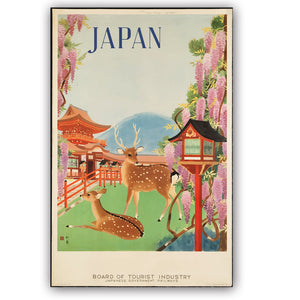 Boho Wanderlust  Vintage Travel Japan Sika Deer Flower House Mount Fuji Poster Prints - Bohemian Moon Boutique