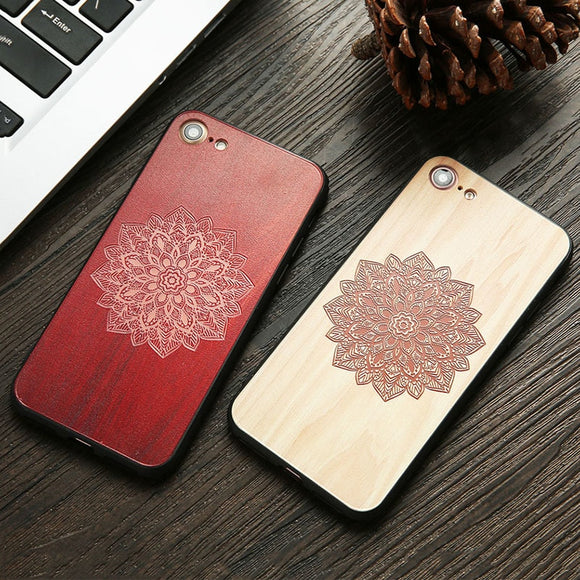 Wood Case For iphone 7 7 6 6s Plus Cover 3D Embossed Mandala Henna Wooden Phone Case