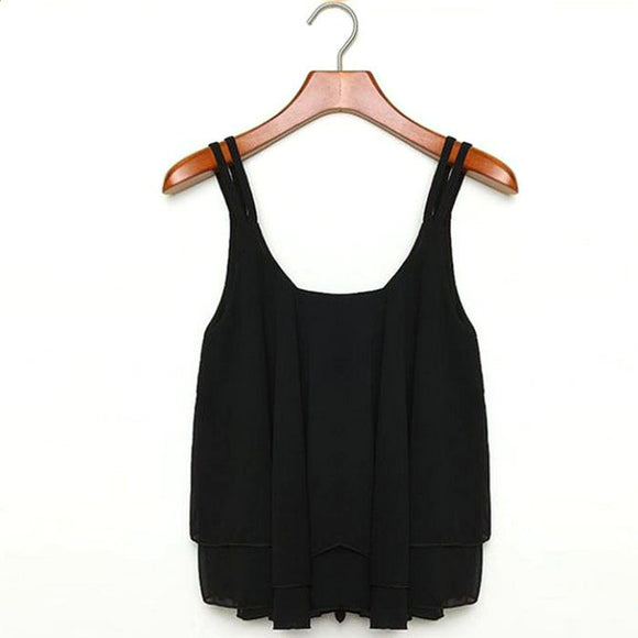 Women's Casual Tops Double Layer Sleeveless Summer Camis