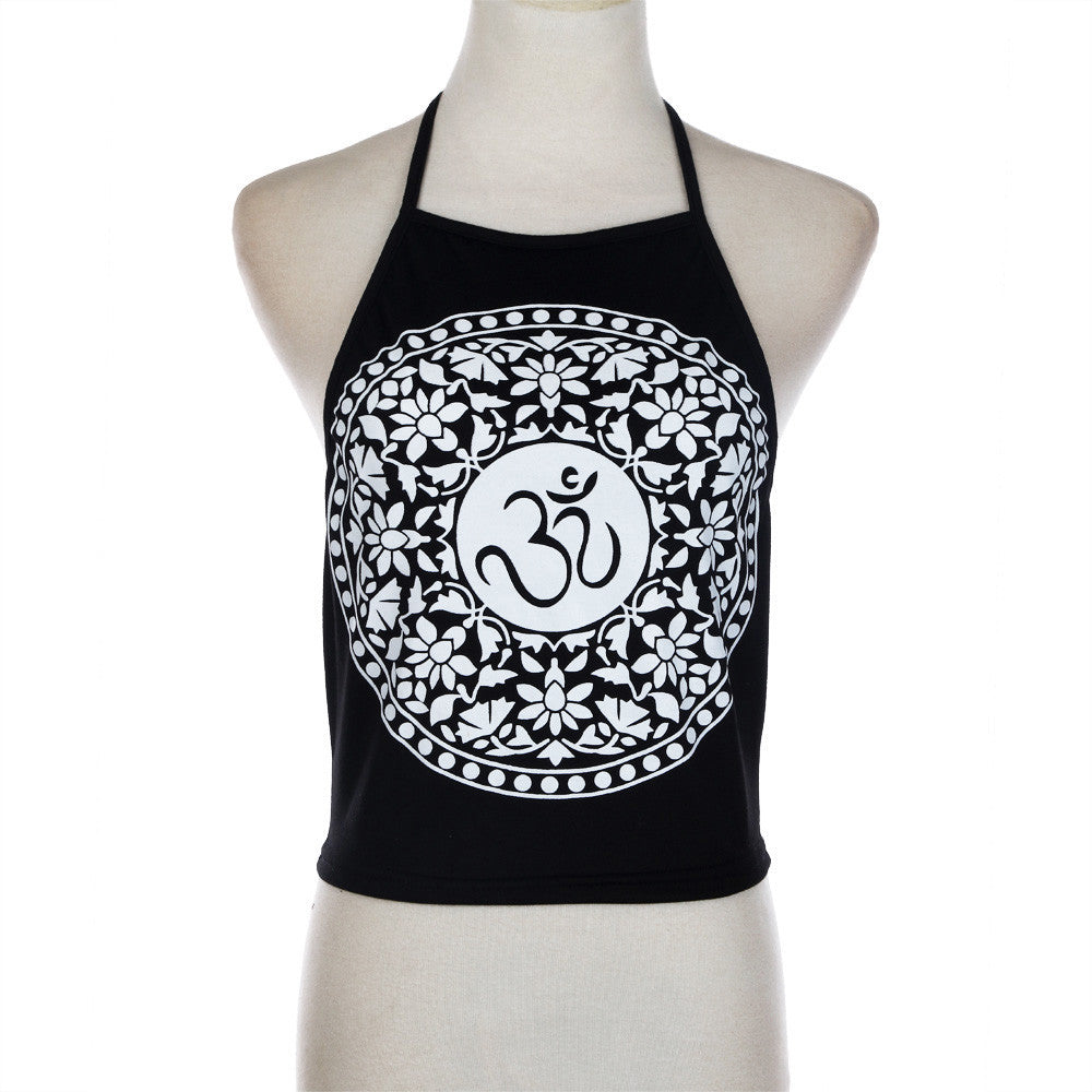 Halterneck Tank Top Summer Fashion Womens Printing Sleeveless Tank Crop Tops Vest femme T-Shirt Black Camis - Bohemian Moon Boutique
