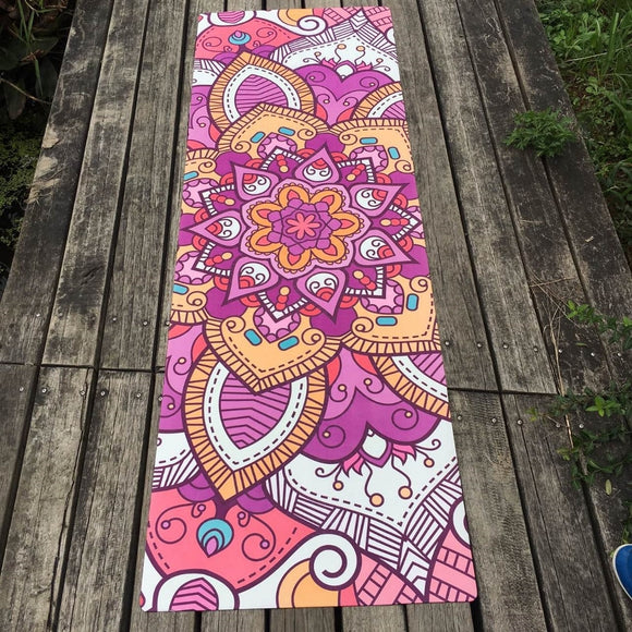 Bright Mandala Yoga Mat Martial arts Slip-Resistant Meditation - Bohemian Moon Boutique