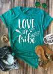 Women's Love My Tribe Short Sleeve T-Shirt O-Neck Casual Turquoise