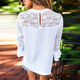 Ladies 3/4 Sleeve Frill Tops Ladies Embroidery Lace Shirt Blouse T Shirt - Bohemian Moon Boutique