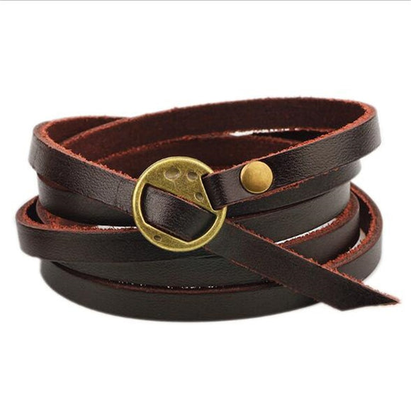 Dark Brown Leather Wrap Bracelet For Men & Women Size Adjustable - Bohemian Moon Boutique