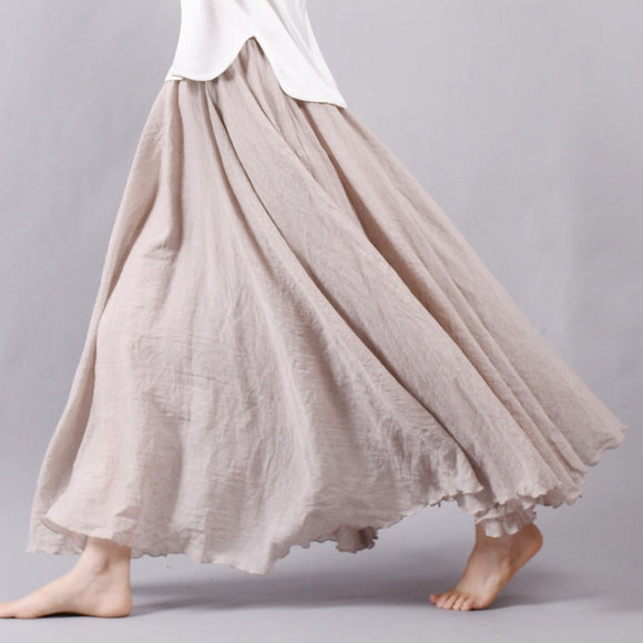 Women's Bohemian Goddess Linen Cotton Long Skirts Elastic Waist Pleated Maxi Skirt