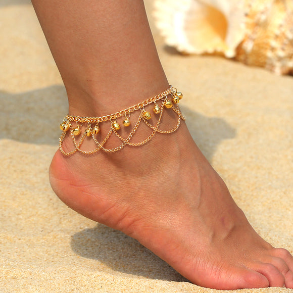 Gold Gypsy Bellydancer Style Anklet - Bohemian Moon Boutique