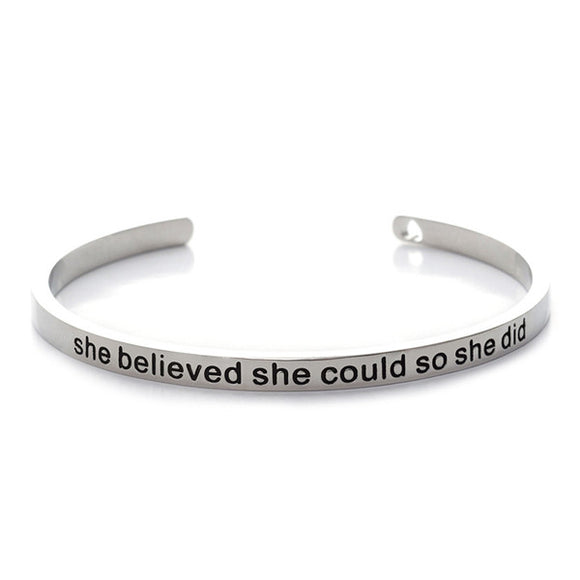 She Believed She Could So She Did Cuff Bangle - Bohemian Moon Boutique
